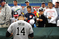 South Carolina's John Taylor signs autographs before Game 3 of the NCAA Division One Men's College World Series on Sunday June 20th, 2010 at Johnny Rosenblatt Stadium in Omaha, Nebraska.  (Photo by Andrew Woolley / Four Seam Images)