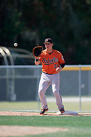 Baltimore Orioles Steve Laurino (31) waits to receive a throw during a minor league Spring Training game against the Tampa Bay Rays on March 29, 2017 at the Buck O'Neil Baseball Complex in Sarasota, Florida.  (Mike Janes/Four Seam Images)