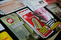 NPD-Veranstaltung gegen geplantes Fluechtlingsheim in Berlin-Neukoelln.<br />Etwa 30 Mitglieder und Sympathiesanten der NPD kamen am Samstag den 16. Februar 2013 zu einer oeffentlichen Veranstaltung der NPD-Berlin. Die NPD versuchte mit der Veranstaltung Stimmung gegen ein geplantes Fluechtlingsheim in Berlin-Neukoelln zu machen.<br />Im Bild: NPD-Propaganda und eine NPD-Spendendose.<br />16.2.2013, Berlin<br />Copyright: Christian-Ditsch.de<br />[Inhaltsveraendernde Manipulation des Fotos nur nach ausdruecklicher Genehmigung des Fotografen. Vereinbarungen ueber Abtretung von Persoenlichkeitsrechten/Model Release der abgebildeten Person/Personen liegen nicht vor. NO MODEL RELEASE! Don't publish without copyright Christian-Ditsch.de, Veroeffentlichung nur mit Fotografennennung, sowie gegen Honorar, MwSt. und Beleg. Konto:, I N G - D i B a, IBAN DE58500105175400192269, BIC INGDDEFFXXX, Kontakt: post@christian-ditsch.de<br />Urhebervermerk wird gemaess Paragraph 13 UHG verlangt.]