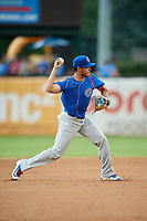 South Bend Cubs shortstop Rafael Narea (2) throws to first base during a game against the Kane County Cougars on July 21, 2018 at Northwestern Medicine Field in Geneva, Illinois.  South Bend defeated Kane County 4-2.  (Mike Janes/Four Seam Images)