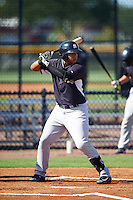 GCL Yankees West third baseman Nelson Gomez (25) at bat during a game against the GCL Yankees East on August 3, 2016 at the Yankees Complex in Tampa, Florida.  GCL Yankees East defeated GCL Yankees West 12-2.  (Mike Janes/Four Seam Images)