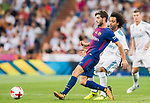 Sergi Roberto Carnicer (l) of FC Barcelona battles for the ball with Marcelo Vieira Da Silva of Real Madrid during their Supercopa de Espana Final 2nd Leg match between Real Madrid and FC Barcelona at the Estadio Santiago Bernabeu on 16 August 2017 in Madrid, Spain. Photo by Diego Gonzalez Souto / Power Sport Images