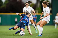 TACOMA, WA - JULY 31: Dzsenifer Marozsan #8 of the OL Reign slides for the ball during a game between Racing Louisville FC and OL Reign at Cheney Stadium on July 31, 2021 in Tacoma, Washington.