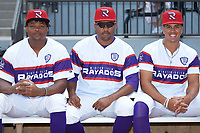 (L-R) Winston-Salem Rayados relief pitcherers Luis Ledo (39), Vince Arobio (31), and Andrew Perez (1) pose for a photo prior to the game against the Lynchburg Hillcats at BB&T Ballpark on June 23, 2019 in Winston-Salem, North Carolina. The Hillcats defeated the Rayados 12-9 in 11 innings. (Brian Westerholt/Four Seam Images)