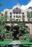 Honolulu: Royal Hawaiian Hotel, Facade. Warren and Wetmore, Architects. Photo '82.