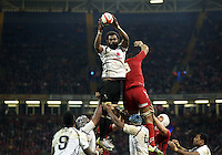 Pictured: Tevita Kavubati of Fiji catches the ball from a line out. Saturday 15 November 2014<br />