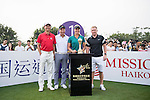 (L-R) Wang Zhiwen, Tenniel Chu, Suzann Pettersen, Paul Scholes at the 1st hole during the World Celebrity Pro-Am 2016 Mission Hills China Golf Tournament on 23 October 2016, in Haikou, China. Photo by Weixiang Lim / Power Sport Images
