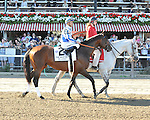 8.7.10 Blame and Garret Gomez in the post parade for the Whitney