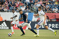 FOXBOROUGH, MA - JULY 27:  Gustavo Bou #7 advances down the field with Sebastian Mendez #8 and Dillon Powers #5 in pursuit at Gillette Stadium on July 27, 2019 in Foxborough, Massachusetts.