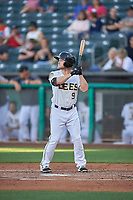 Brennon Lund (9) of the Salt Lake Bees bats against the Round Rock Express at Smith's Ballpark on June 10, 2019 in Salt Lake City, Utah. The Bees defeated the Express 9-7. (Stephen Smith/Four Seam Images)
