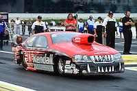 Jun. 1, 2012; Englishtown, NJ, USA: NHRA pro stock driver V. Gaines during qualifying for the Supernationals at Raceway Park. Mandatory Credit: Mark J. Rebilas-