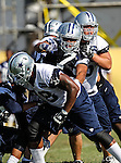 Dallas Cowboys tackle Jeff Adams (75) in action at the Dallas Cowboys 2012 Training Camp which was held at the Marriott Resident Inn football fields in Oxnard, CA.