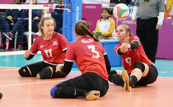 Sarah Melenka, Danielle Ellis, and Heidi Peters, Lima 2019 - Sitting Volleyball // Volleyball assis.<br />