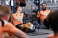 (L-R) Tom Carroll and Kyle Bartley exercise in the gym during the Swansea City Training Session at The Fairwood Training Ground, Wales, UK. Tuesday 03 July 2018
