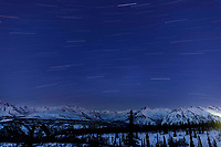 Spring Landscape of star trails streaking across sky above the snow-covered Chugach Mountains in the Tahneta Pass Glacier-View area of Southcentral, Alaska <br /> <br /> Photo by Jeff Schultz/  (C) 2020  ALL RIGHTS RESERVED