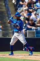 Toronto Blue Jays right fielder Jonathan Davis (1) at bat during a Grapefruit League Spring Training game against the New York Yankees on February 25, 2019 at George M. Steinbrenner Field in Tampa, Florida.  Yankees defeated the Blue Jays 3-0.  (Mike Janes/Four Seam Images)