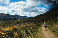 Walking along The Great Trossachs Path near Loch Venachar, Loch Lomond and the Trossachs National Park, Stirlingshire