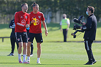 Pictured L-R: Chris Gunter and Gareth Bale play about in front of a camera. Monday 31 August 2020<br /> Re: Wales football training ahead of their game against Finland, at the Vale Resort in Hensol, Wales, UK.