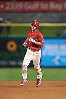 Clearwater Threshers third baseman Mitch Walding (10) runs the bases after hitting a home run during a game against the Charlotte Stone Crabs on April 12, 2016 at Bright House Field in Clearwater, Florida.  Charlotte defeated Clearwater 2-1.  (Mike Janes/Four Seam Images)
