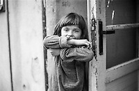 A refugee child from Bosnia in the Varazdin refugee camp in Croatia.
