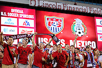 United States fans before the match. The men's national teams of the United States (USA) and Mexico (MEX) played to a 1-1 tie during an international friendly at Lincoln Financial Field in Philadelphia, PA, on August 10, 2011.