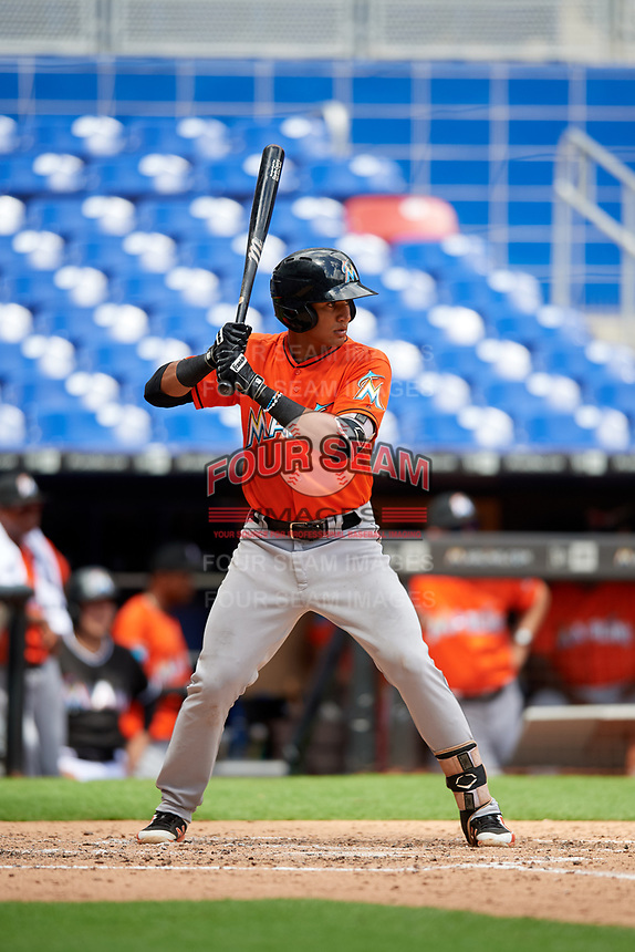 Miami Marlins Walner Espinal (90) at bat during a Florida Instructional League game against the Washington Nationals on September 26, 2018 at the Marlins Park in Miami, Florida.  (Mike Janes/Four Seam Images)
