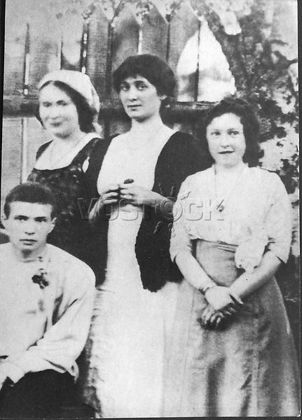 Anna Akhmatova and Maria Kuzmina-Karavayeva (left). Artist: Anonymous