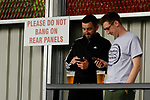 Salford City 2 FC United of Manchester 1, 15/07/2017. Moor Lane, Pre Season Friendly. Notice asking fans not to bang on rear stand panels at Moor Lane. Salford City v FC United of Manchester in a pre season friendly at Moor Lane Salford. Photo by Paul Thompson.