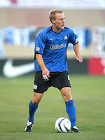 Earthquakes Defender Chris Roner in action against Wizards at San Jose Spartan Stadium in San Jose, California on June 28th, 2003.  Earthquakes and Wizards are tied 0-0 in overtime.