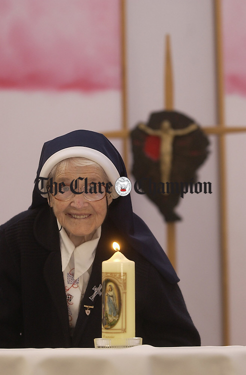 Cranny native, Sr Lucy Brooks celebrates her 100 the birthday this Friday February 14 th...Sr Lucy is a member of The Mercy Order and last year marked her Diamond Jubilee with the order. She is pictured in the chapel where she attends mass daily, at Catherine Mc Cauley house in Limerick...Photograph by John Kelly..
