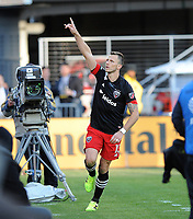 WASHINGTON, DC - MARCH 07: Frederic Brilliant #13 of D.C. United celebrates his score during a game between Inter Miami CF and D.C. United at Audi Field on March 07, 2020 in Washington, DC.