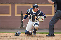 North Carolina A&T Aggies catcher Ryne Stanley (25) on defense against the North Carolina Central Eagles at Durham Athletic Park on April 10, 2021 in Durham, North Carolina. (Brian Westerholt/Four Seam Images)