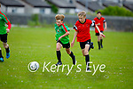 All eyes on the ball as Tadgh Healy of Park B  and Mark Farrell of Camp United try to gain possession in the first game as they return to the U14 soccer league in Christy Leahy Park on Bank Holiday Monday.