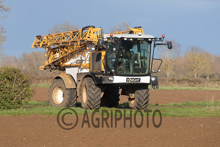 25-3--2021 Crops sprayer turning into a field in Lincolnshire<br /> ©Tim Scrivener Photographer 07850 303986<br />      ....Covering Agriculture In The UK....