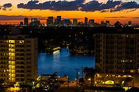 Ft. Lauderdale, Florida.  Skyline at Sunset.