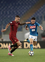 Calcio, Serie A: Roma, stadio Olimpico, 14 ottobre 2017.<br /> Napoli's Dries Mertens (r) in action with Aleksandar Kolarov (l) during the Italian Serie A football match between Roma and Napoli at Rome's Olympic stadium, October14, 2017.<br /> UPDATE IMAGES PRESS/Isabella Bonotto