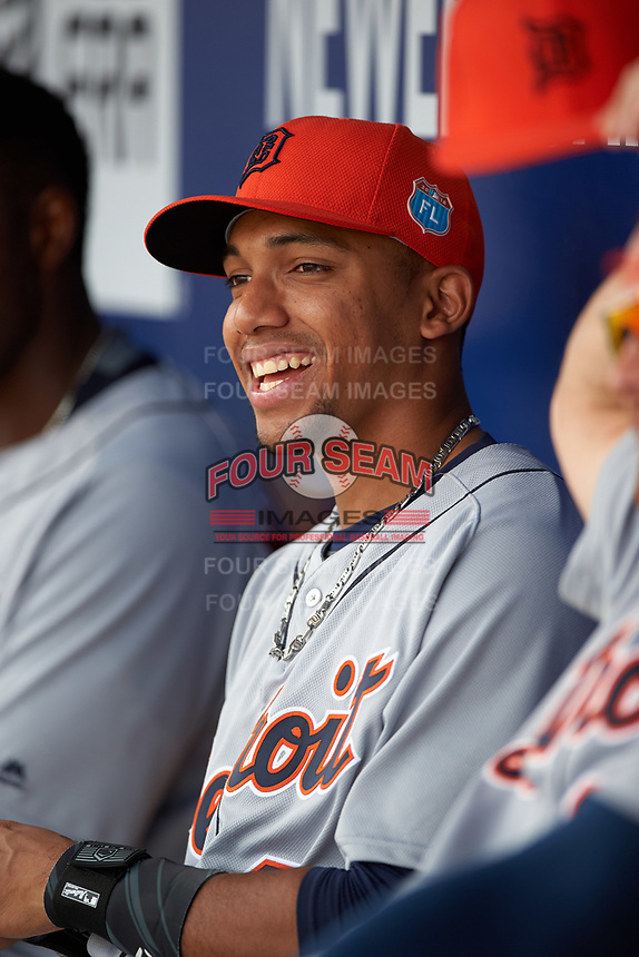 Detroit Tigers shortstop Dixon Machado (49) in the dugout during a Spring Training game against the New York Yankees on March 2, 2016 at George M. Steinbrenner Field in Tampa, Florida.  New York defeated Detroit 10-9.  (Mike Janes/Four Seam Images)
