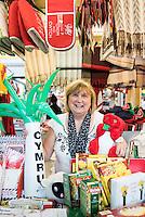 STORY BY STEVEN MORRIS SWANSEA, UK. 5th July 2015. Ann O'Sullivan from Pethau Cymreig in Swansea Market.