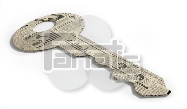 Illustration of key made up of financial newspaper over white background