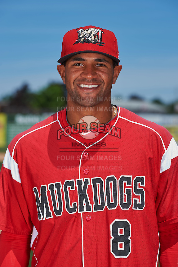 Batavia Muckdogs outfielder Kris Goodman (8) poses for a photo before the teams first practice on June 15, 2016 at Dwyer Stadium in Batavia, New York.  (Mike Janes/Four Seam Images)