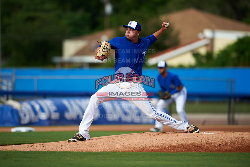 Dunedin Blue Jays starting pitcher Tayler Saucedo (16) delivers a pitch during a game against the Bradenton Marauders on July 17, 2017 at Florida Auto Exchange Stadium in Dunedin, Florida.  Bradenton defeated Dunedin 7-5.  (Mike Janes/Four Seam Images)