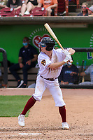 Wisconsin Timber Rattlers shortstop Hayden Cantrelle (2) at bat during a game against the West Michigan Whitecaps on May 22, 2021 at Neuroscience Group Field at Fox Cities Stadium in Grand Chute, Wisconsin.  (Brad Krause/Four Seam Images)