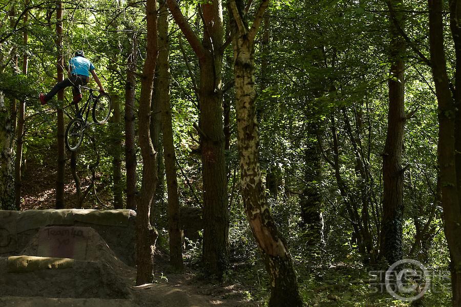Grant Fielder  riding Kona Bike   4a jumps, Cove , Hampshire  April 2011 pic copyright Steve Behr / Stockfile