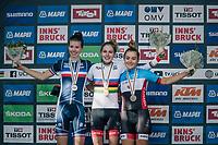 WOMEN JUNIOR ROAD RACE podium: <br /> 1 – Laura Stigger (AUT)<br /> 2 – Marie Le Net (FRA)<br /> 3 – Simone Boilard (CAN)<br /> <br /> Rattenberg to Innsbruck: 71.7 km<br /> <br /> UCI 2018 Road World Championships<br /> Innsbruck - Tirol / Austria