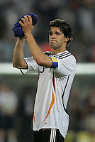 German captain (13) Michael Ballack says goodbye to the crowd with a tear in his eye.  Italy defeated Germany, 2-0, in overtime in their FIFA World Cup semifinal match at FIFA World Cup Stadium in Dortmund, Germany, July 4, 2006.