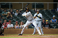 Mesa Solar Sox Jo Adell (25), of the Los Angeles Angels organization, at bat during an Arizona Fall League game against the Salt River Rafters on September 27, 2019 at Salt River Fields at Talking Stick in Scottsdale, Arizona. Salt River defeated Mesa 6-1. (Zachary Lucy/Four Seam Images)