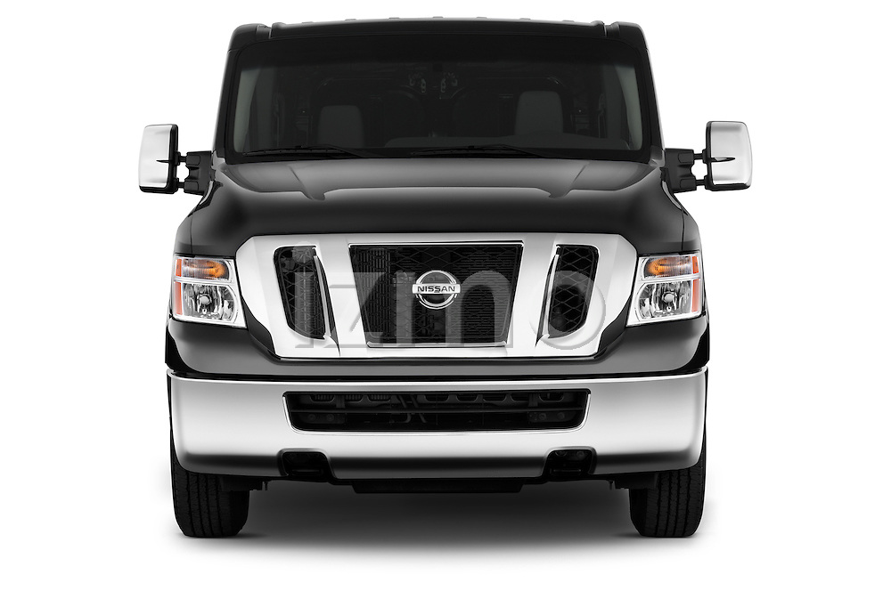 Straight front view of a 2014 Nissan NV 3500 HD cargo van