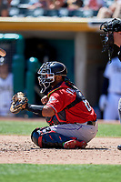 Jan Vazquez (6) of the Albuquerque Isotopes on defense against the Salt Lake Bees at Smith's Ballpark on April 22, 2018 in Salt Lake City, Utah. The Bees defeated the Isotopes 11-9. (Stephen Smith/Four Seam Images)