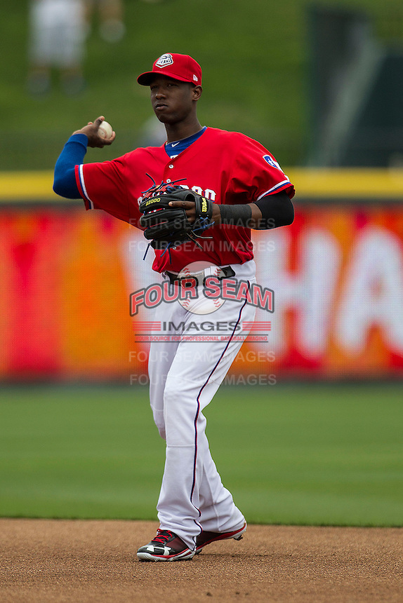 Round Rock Express second baseman Jurickson Profar #10 makes a throw to first base against the Omaha Storm Chasers in the Pacific Coast League baseball game on April 7, 2013 at the Dell Diamond in Round Rock, Texas. Omaha beat Round Rock 5-2, handing the Express their first loss of the season. (Andrew Woolley/Four Seam Images).