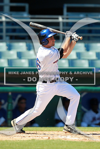New York Mets minor league first baseman Josh Satin (46) during a game vs. the Minnesota Twins in an Instructional League game at City of Palms Park in Fort Myers, Florida;  October 4, 2010.  Photo By Mike Janes/Four Seam Images